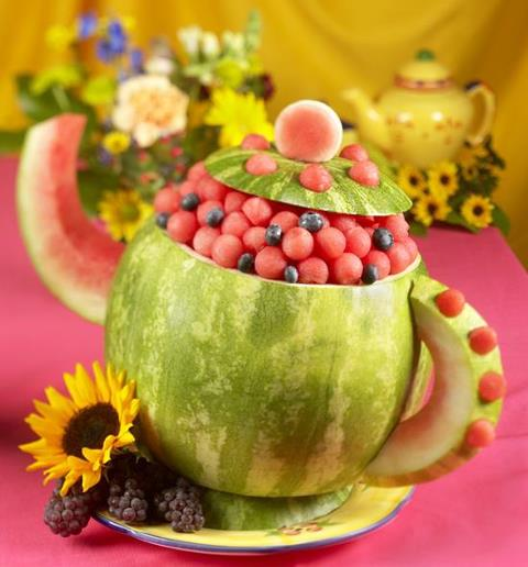 food art watermelon tea pot with berries
