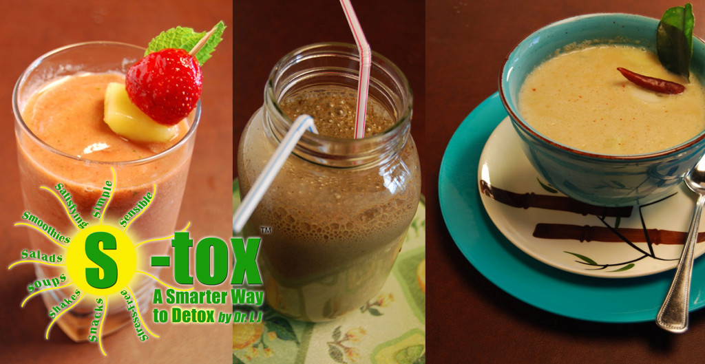 On S-Tox, you'll enjoy three delicious meals plus snacks every day! From left to right: Tropical Treasures Slushie, Green Fusion Shake, and Thai Coconut Soup.