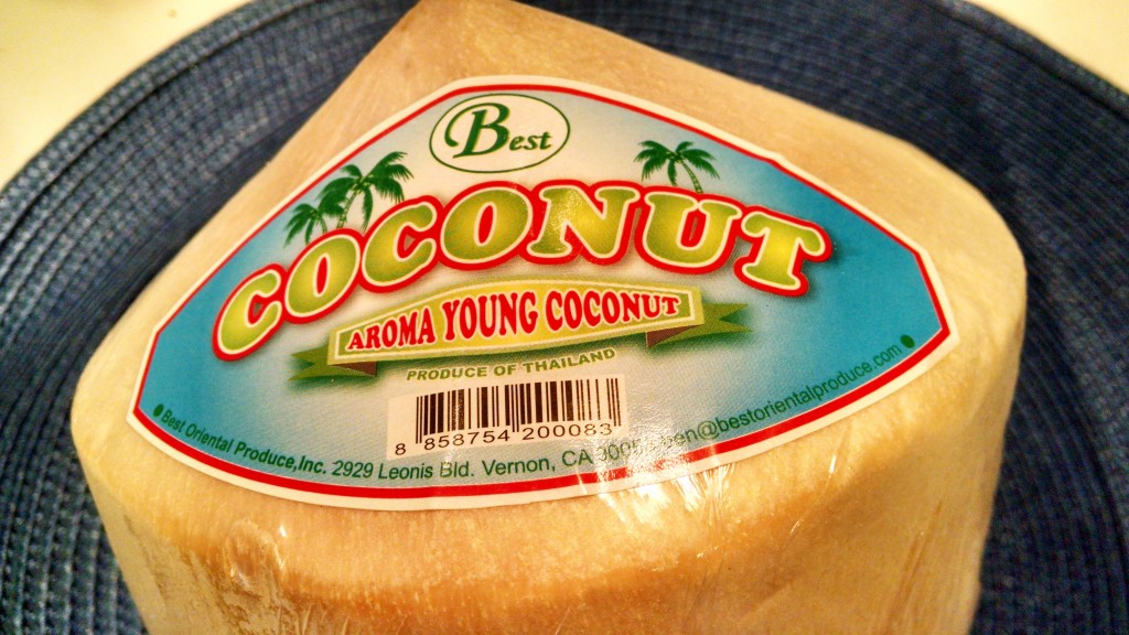 Young Coconuts look like this when you buy them in the market. Remove the plastic wrap before opening.